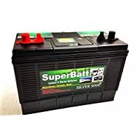 12V 120AH SuperBatt DT120 Heavy Duty Ultra Deep Cycle Dual Purpose Leisure Marine Battery with Dual Terminals (Twin Posts) & Charge Indicator Replace 105AH ; 110AH ; 115AH ; 120AH 7