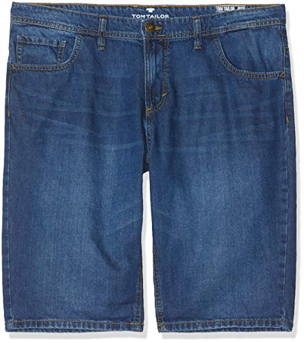 TOM TAILOR Herren 5 Pocket Shorts, Blau (Mid Stone Wash Denim 10281), W32/L32 (Herstellergröße: 32) 5-pocket-cord-hose
