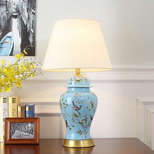 PIO Keramik E27 Tischleuchte, Vogel und Blume im Chinesischen Mandarin Stil, Schreibtisch Leselicht Geeignet für Entspannung Nachtlicht [Energieklasse A ++], 2 (Vogel Pie)