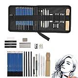 Magicdo 35 Stück Bleistifte Skizzierstifte Set Profi Skizzieren und Zeichnen Art Set mit Graphitkohlestifte Sticks Werkzeuge und Kit Bag