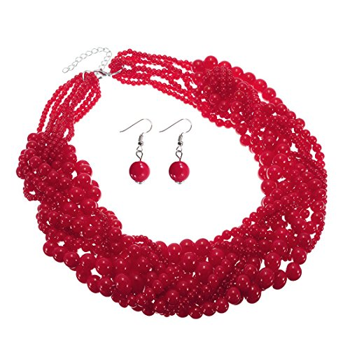 Jerollin Damen Kette Perlenkette Bead bib Choker Collier Collar Halskette Necklace Statement Ketten Ohrringen Ohrstecker Schmuck (Ohrringe Gold Disco Kette)