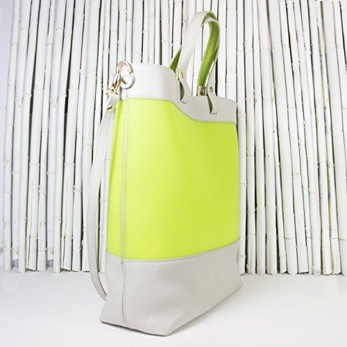 Gattabuia - borsa Federica in pelle e pvc Perla-Lime