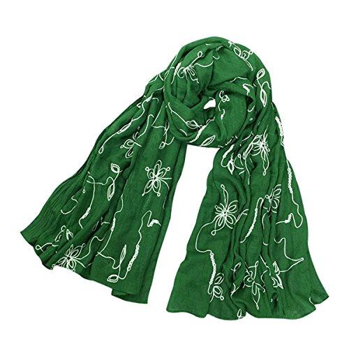 Heyjewels Printemps doux elegant Echarpe Foulard borde des papillons en coton toile Vert