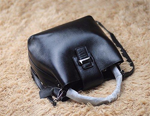Leder echtes Leder Tasche fashion Bucket Bag Persönlichkeit Freizeit single Schulter obliquer Querschnitt Kopf Schicht Rindsleder Tasche, 25 * 14 * 22 cm Schwarz
