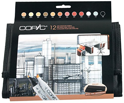 COPIC 12er Set Architekturfarben im Wallet