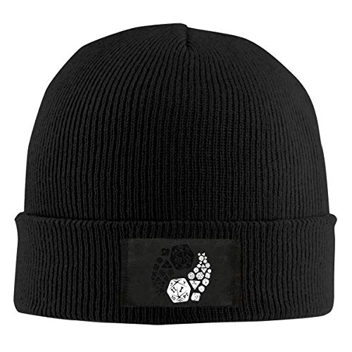 Mens Womens Beanie Cap Watch Hat Winter Warm Knit Skull Hat Cap with Dungeons and Dragons Yin Yang Printed Black Net red 3597 -