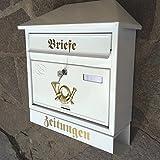 Großer Briefkasten / Postkasten XXL Weiß mit Zeitungsrolle Schrägdach Trapezdach