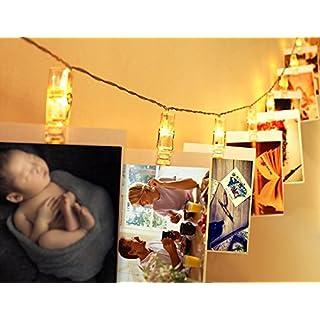 LED Foto Clips Lichterketten, ApoGo Bilderrahmen Collage, 40 Photo Clips Batteriebetriebene Stimmungsbeleuchtung Dekoration Lichterkette für Hängendes Foto Memos Kunstwerke