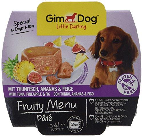 gimdog Fodera/Little Darling Fruity Menu paté con Tonno, Ananas E Fico/per cani fino a 10kg/senza glutine/cibo per cani senza aromi artificiali & coloranti/cani ASS Imbottitura 800G (8X 100G)
