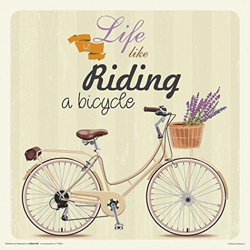 Culturenik Life is Like Riding a Bicycle Retro Vintage Hipster Deko, im Art Poster Print 12 x 12 -
