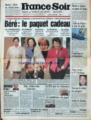FRANCE SOIR du 09/04/1992 - BOURSE - ALE...