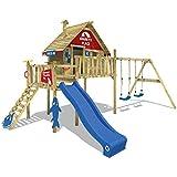 WICKEY Stelzenhaus Smart Bay Spielhaus Spielturm mit Doppelschaukel, Rutsche, Veranda und Holzdach
