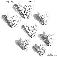 FiveSeasonStuff 24pcs 3D Gold Mirror Hollow Butterfly Wall Stickers