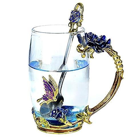 NBHUZEHUA Pretty Gift Flower Coffee Glass Mug With Spoon 350ml 12 oz Big Tall Blue