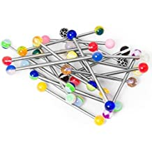 Lot of 20pc Industrial Barbells Candy,beach ball,Glow in the dark 14g 316l Surgical Steel one of each style and color By Eg Gifts by EG GIFTS