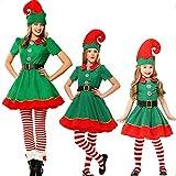 Snsunny Elfen-Kostüm Weihnachtself Kostüm Xmas Elf Outfit Wichtel Weihnachtskostüm für Damen, Herren und Kinder perfekt für Weihnachten, Karneval,Halloween,Party und Cosplay (150cm, Mädchen/Damen)