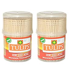 Tulips Wooden Toothpicks 250 Sticks (Pack of 2)