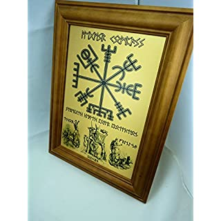 RUNE Elder Futhark Personalised Viking VEGVISIR COMPASS - Design Print on Brushed Metal complete with Quality Teak Wood Frame