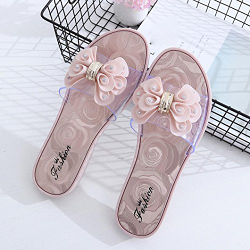 Bademoden große Blüten rutschfeste Hausschuhe , Kaiki Frauen Flip Flops Hausschuhe Schuhe Sommer Strand Große Blume Slip Hausschuhe Pink
