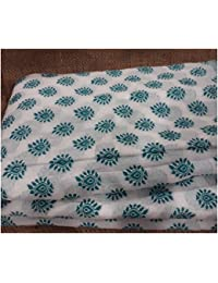 Cotton Fabric By Metre White Green Jaquard Brocade Embroidery Dress Material