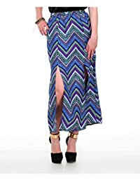 Yepme Women's Blue Poly Cotton Skirt - YPMSKRT5027-$P