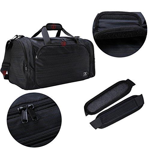 MIER Gym Bag mit Wet Pocket Sport Duffel Holdall für Männer und Frauen, 40L, Rot Schwarz