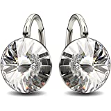Made with Swarovski Crystals 925 Sterling Silver Clear Round Bridal Earrings for Women, Lever-Back