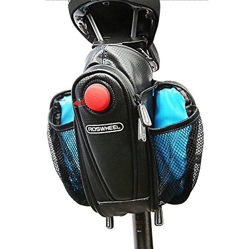 Vertast Fahrrad wasserdichte Satteltasche Fahrrad Wasserflaschenhalter mtb mtb unter Sitz Fahrradtasche mit Rücklicht Schwarz D