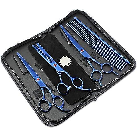 WINGONEER animali governare forbici professionali dei capelli di cane di taglio Forbici da 7 pollici Blu 4 pezzo con un caso di protezione