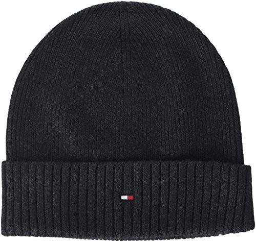 Tommy Hilfiger Herren Strickmütze PIMA Cotton Cashmere Beanie, Schwarz (Black 002), One Size (Herstellergröße: OS)