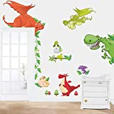 Rgdrh Dinosaurio Dragón Etiqueta de la pared Calcomanías de vinilo Niños Habitación infantil Decoración de animales30x90cm