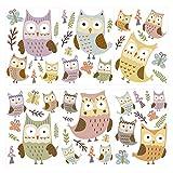 Wandtattoo Kinderzimmer Wandsticker Set Eulen mit Schmetterlingen zum Kleben Wa
