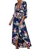 Cytree Damen Vintage Sommerkleid Lang Blumen Wickelkleid Beach Strandkleid Partykleider Maxi Kleider mit Teilt Blau M