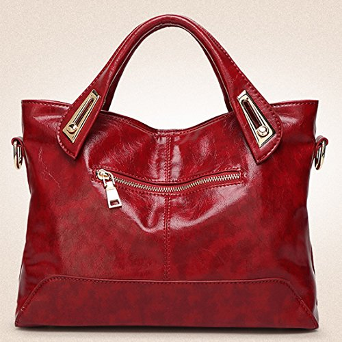 YYW Leather Shoulder Bag, Borsa a mano donna Burgundy