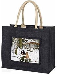 Cocker Spaniel and Cat Snow Scene Large Black Shopping Bag Christmas Present Ide
