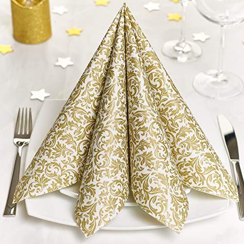 GRUBly Servietten Gold | Stoffähnlich [100 Stück] | Hochwertige goldene Tischdekoration für Weihnachten, Hochzeit, Geburtstag, Feiern | 40x40cm | AIRLAID QUALITÄT