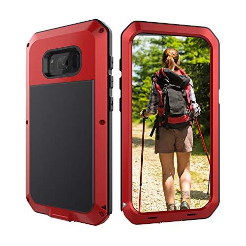 Beeasy Samsung Galaxy S8 Schutzhülle,360 Grad Fallschutz Outdoor Hybrid Rüstung Schlagfest Stoßfest Handyhülle Handy Case Robust Metall Stürzen Stößen Heavy Duty Hülle,Rot