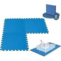 8 Dalles Tapis de Sol modulable pour piscine - 50 cm x 50 cm
