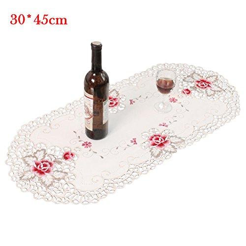 1 Doily Rose (Futurepast Deckchen,Spitze Doily,Einfach zu Säubern Spitzenuntersetzer Zierdeckchen Untersetzer,Polyesterfaser Deckchen Pad, Tischaufleger Tisch-Deckchen Leinen E: 30 * 45 cm Ellipse)