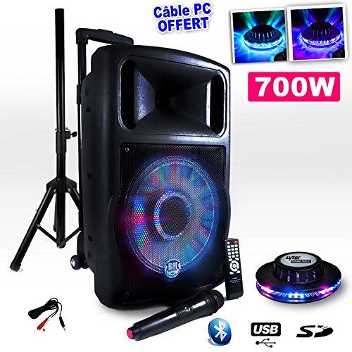 "Enceinte Mobile DJ PA PARTY KARAOKE Gym Fitness CLUB, BM SONIC FUZZY12BT Bluetooth US/SD sur Batterie 700W 12""/BOOMER LED 30cm + Effet UFO OVNI LED + Câble PC/Smartphone/Tablette"