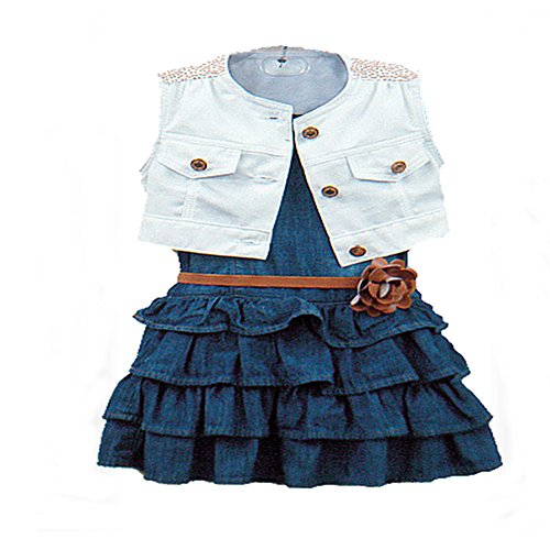 BOBORA Toddler Girls Ruffled Denim Jean Skirts+Coat+Belt 3 Pcs Costume Clothes 2-7Y