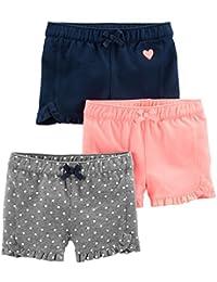 Simple Joys by Carter's - Pantalones cortos de punto para niñas pequeñas (3 unidades)