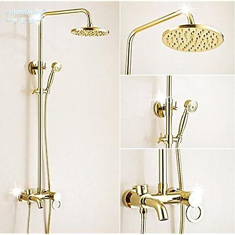 Bagno generale di rame dorato set doccia doccia multifunzionale