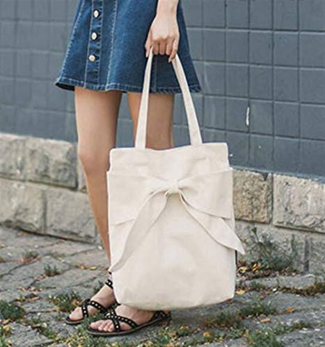 NANIH Home Weibliche Bogen Canvas Schulter Tasche umweltfreundliche Tasche Shoping Handtasche (Bogen-schulter-tasche)