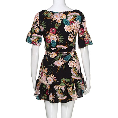 Wawer Mini Summer Dress for Women Vintage Boho Evening Dress Short Sleeve Spaghetti Strap Floral Dress Skater A Line Mini Dress Sundress for Party Cocktail Wedding Beach  S  Black