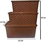 #9: Basket With Cover Combo / Basket With Lid / Basket Set With Top Cover / 3 Piece Basket Set (Brown)