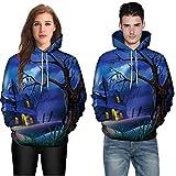 Feitong Herren Pullover, Männer Frauen Mode 3D Drucken Lange Ärmel Halloween Paare Hoodies Top Bluse Shirts(EU-50/Size-5XL, B