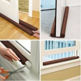 #5: Goank Twin Draft Guard Extreme in Brown - Energy Saving Under Door Draft Stopper Twin Door Bottom Draft Guard For Control Room Temperature