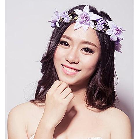 Corea del rattan Rose fiori damigella d'onore dei capelli Ornamenti Wedding Photo Studio Fatto copricapo con gioielli ( stile : 2#