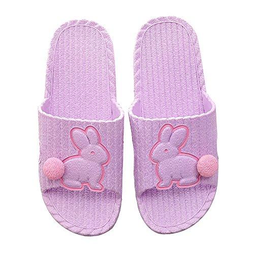 Pantofole da bagno estate da donna / da uomo cartone animato bambino-figlio bambino coppia casa coperta sandali da doccia antiscivolo scarpe da piscina,purple,39